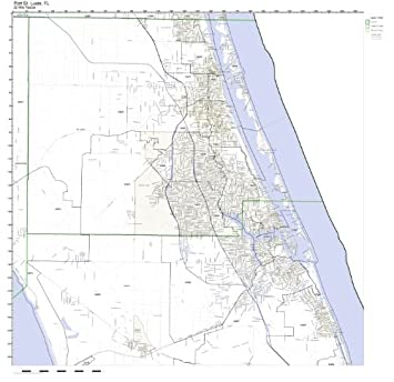 St Lucie Florida Map.Amazon Com Port St Lucie Fl Zip Code Map Laminated Home Kitchen