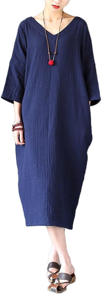 MatchLife Robe Femmes Ete Casual Coton Lin Vintage Top