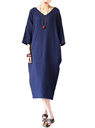 3036fa494a3b06 MatchLife Damen Kaftan Tunika Kleid Maxi Leinenkleid Mittelalter lang Kleid