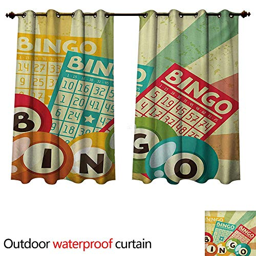 WilliamsDecor Vintage 0utdoor Curtains for Patio Waterproof Bingo Game with Ball and Cards Pop Art Stylized Lottery Hobby Celebration Theme W55 x L45(140cm x 115cm)