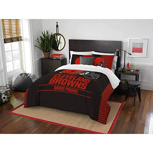 - 3 Piece NFL Cleveland Browns Comforter Full Queen Set, Sports Patterned Bedding, Team Logo, Fan Merchandise, Team Spirit, Football Themed, National Football League, Brown Red, For Unisex
