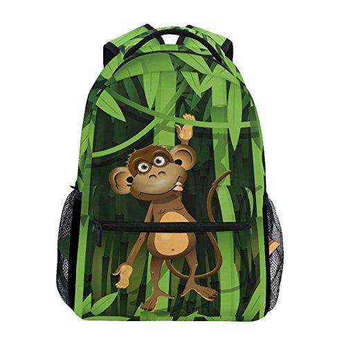 WXLIFE Funny Animal Monkey Bamboo Backpack Travel School Shoulder Bag For Kids Boys Girls Women Men