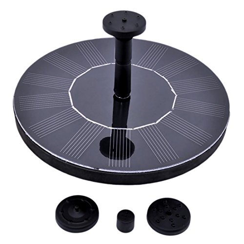Solar Fountain Pump, 1.4W Free Standing Water Fountain Pump Kit with 4 Different Spray Heads for Bird Bath, Fish Tank, Small Pond and Garden by IBELLA