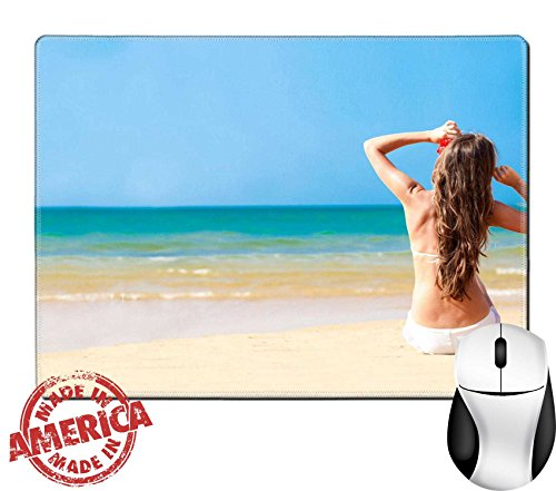 "Luxlady Natural Rubber Mouse Pad/Mat with Stitched Edges 9.8"" x 7.9"" Back view young long haired woman in bikini sunglasses flower sitting beach IMAGE - Sunglasses Price Luxury"