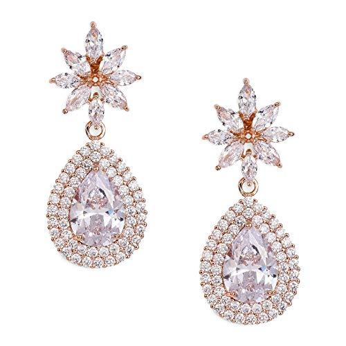 SWEETV Teardrop Dangle Earrings for Wedding,Bridal,Prom-Rose Gold Cubic Zirconia Crystal Rhinestone Dangling Earrings for Women Bride Bridesmaids Jewelry Hypoallergenic by SWEETV