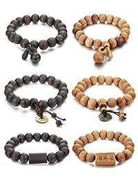 FIBO STEEL 2Pcs 11mm Wood Beaded Bracelet for Men Buddha Bracelet Elastic