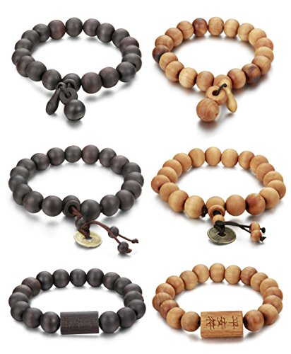 FIBO STEEL 6Pcs 11mm Wood Beaded Bracelet for Men Buddha Bracelet (Wood Beaded Jewelry)
