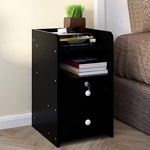 ZPEE Cube Bedside Drawer with Drawer,Wooden Chic Furniture Bedside Table Easy to Assemble Storage Unit with Open Compartments with Handles Storage Cabinet C 38x35x60cm