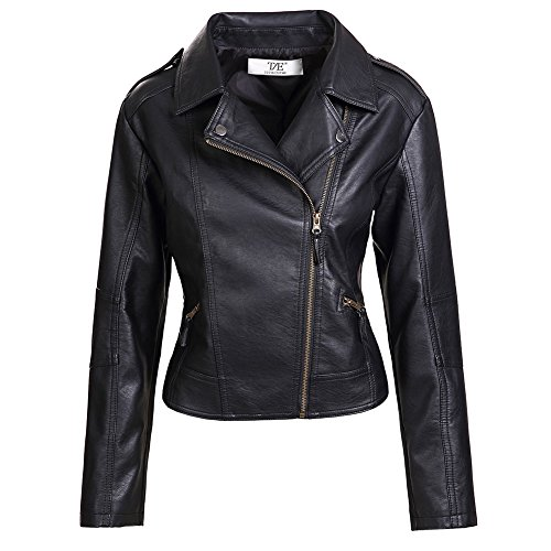 Artfasion Womens Slim Tailoring Faux Leather PU Short Jacket Coat Moto Biker Jacket Black -