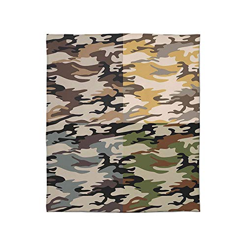 YOLIYANA Super Soft Blanket,Camo,for Camping Bed Couch,Size Throw/Twin/Queen/King,Camouflage Patterns in Four Going