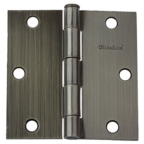 GlideRite Hardware 3500-AB-12 3.5 inch Steel Door Hinges Square Corners Antique Brass Finish 12 Pack