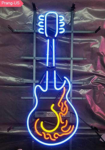 (Prang-US Guitar Neon Signs 24×14 inch, Real Neon Signs Made with Glass Tubes, Brilliant Neon Open Sign. Eye-catching Neon Beer Sign.)