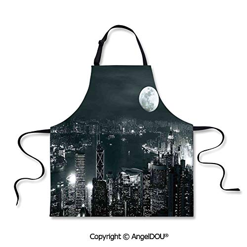 SCOXIXI Adult Kitchen Dinner Party Cooking Apron Aerial View of Hong Kong City at Night with Full Moon Sky Architecture Mystic Print for Indoor Outdoor Waterproof Durable.