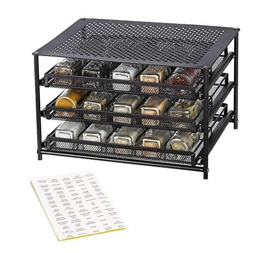 Kitchen NEX 3-Tier Spice Rack, 30 Bottle & 18 Bottle Standing Spice Drawer Storage Organizer for Kitchen Cabinet Countertop… spice racks