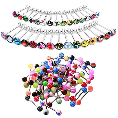 BodyJ4You 50PCS Tongue Rings Set Surgical Steel 14G Logo Sign Piercing Barbells Body Jewelry