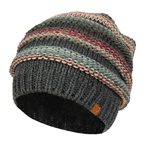 David & Young Grey Striped Marled Ribbed Knit Beanie Hat, Oversized Chunky Skully - Striped Cap Ribbed