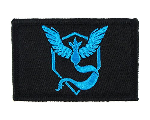 Pokemon Go Team Mystic Hook and Loop Fully Embroidered Morale Tags Patch (Black)