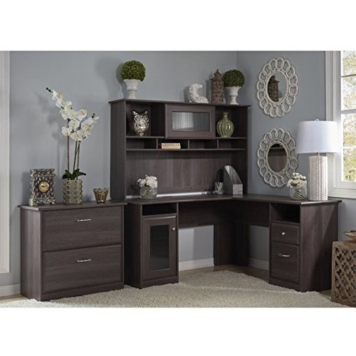 Soho Cherry Finish (Bush Furniture Cabot L Shaped Desk with Hutch and Lateral File Cabinet)