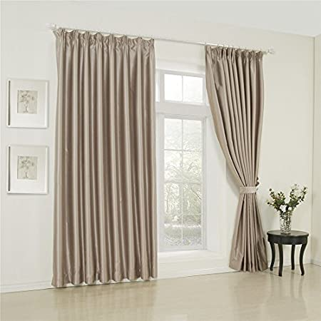 IYUEGOU Wide Curtains 120Inch 300Inch For Large Windows Classic Solid Beige Double Pleated Blackout
