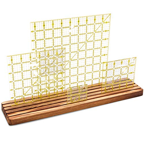 Wooden Quilting Grid Rulers and Template Organizer Stand Rack, 17 x 4 Inches