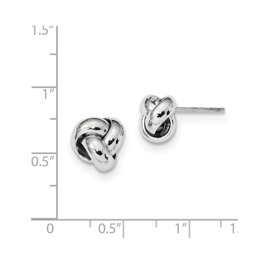 Solid 14k White Gold Polished Love Knot Post Earrings (10mm x 10mm) by Sonia Jewels (Image #2)