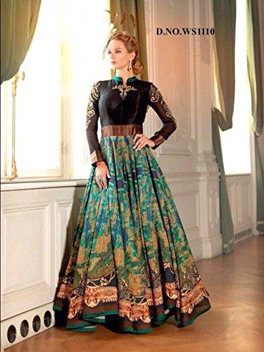 Ready-Made-Patiala-Salwar-Embroidered-Cotton-Salwar-Kameez-Suit-IndiaPakistani-Dres-G3-LARGE-Green-Black