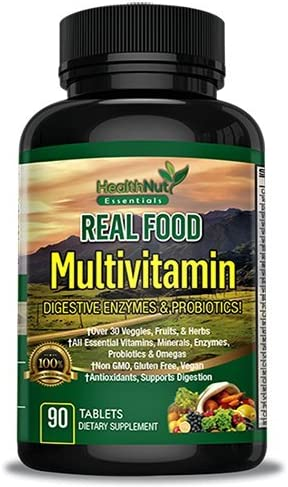 HealthNut Essentials Whole Food Multivitamin for Men Women with Digestive Enzymes Omegas, Essential Nutrients, Minerals and Probiotics Made in the USA and 3rd Party Tested – 90 Count
