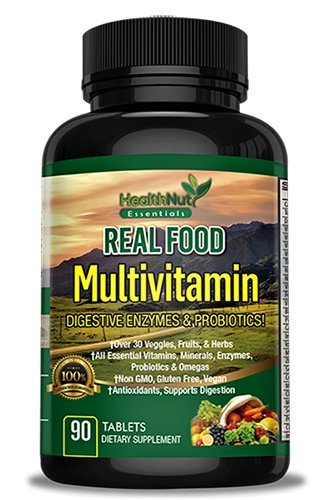 Essential Multivitamin - HealthNut Essentials - Whole Food Multivitamin for Men & Women with Digestive Enzymes & Omegas, Essential Nutrients, Minerals and Probiotics Made in the USA and 3rd Party Tested - 90 Count