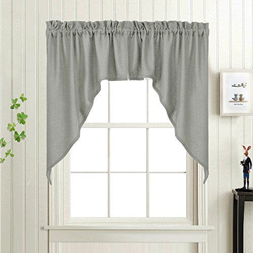 Grey 38-Inch Swag Curtains for Windows, Elegant Home Decor Casual Weave Solid Color Semi Sheer Window Swags Rod Pocket 2 panels, 72 - Swag Summer