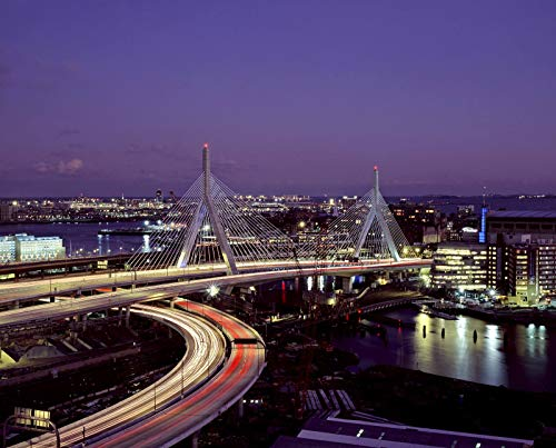 Boston, MA - Photo - Leonard P. Zakim Bunker Hill Bridge at night.- Highsmith