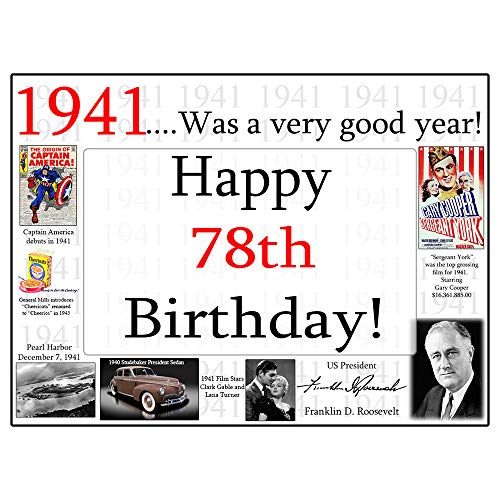 1941-78th Birthday Placemat (8/Pkg) by - 1941 Mat