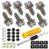 Stainless Steel License Plate Screws - M6 Rustproof Stainless Steel Fasteners for Fastening License Plates, Frames & Covers on Vehicles That Use Nylon Screw Insert Retainers & Black,Chrome Caps