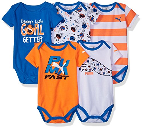 puma-baby-boys-5-pack-bodysuits-fire-orange-3-6m