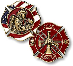 Fire Rescue Fireman in Mask Firefighter Challenge Coin from Armed Forces Depot