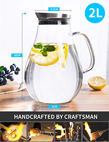 2.0 Liter Glass Pitcher with Lid, Water Carafe Jug for Hot/Cold Water, Ice Tea and Juice Beverage by susteas (Image #4)