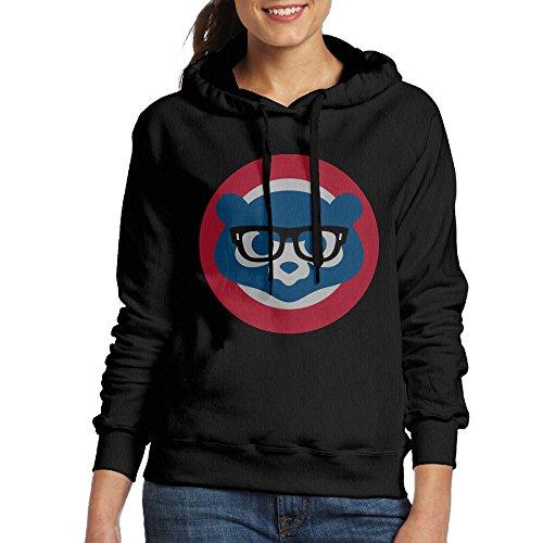 [ACFUN Women's Glasses Bears Hooded Sweatshirt Size M Black] (Cubs Fan Costume)