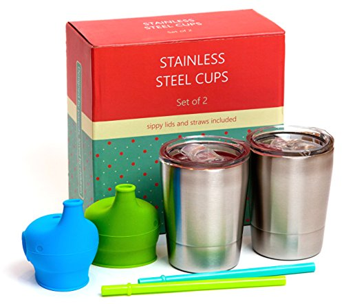 Kenley Stainless Steel Cups for Baby, Toddlers & Kids - Set of 2 BPA Free Cups 8 oz with Spill Proof Silicone Sippy Lids & Straws - Insulated Trainer Tumbler for Babies Drinking Smoothie, Milk, Water