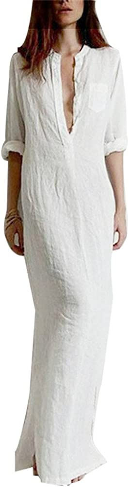 DongDong ✫Seasonal Offer Womens Summer Casual Bohemia Long Sleeve V-Neck Solid Long Maxi Dress