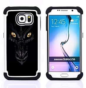 """Samsung Galaxy S6 / SM-G920 - 3 en 1 impreso colorido de Altas Prestaciones PC Funda chaqueta Negro cubierta gel silicona suave (Ojos Noche Negro Escalas Oro"""")"""