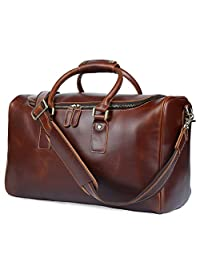 BAIGIO Men's Brown Genuine Leather Weekend Travel Duffel Overnight Bag Gym Bags