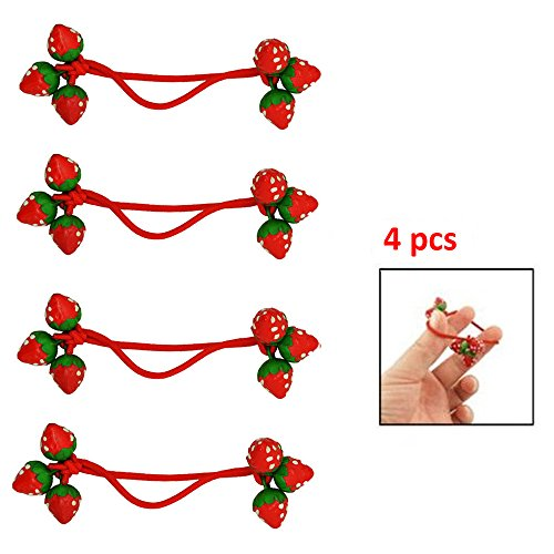 IebeautyCute 2/4/6 Pcs Red Strawberry Decorate Elastic Band Hair Tie for Girls (4pcs) (Girl Go Go Strawberry)