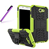 Galaxy J7 2017 Cover,Samsung Galaxy J7 2017 Case,LEECO [Heavy Duty] [Shockproof] Tough Dual Layer Protective Case Cover with Kickstand for Samsung Galaxy J7 2017 Heavy Green