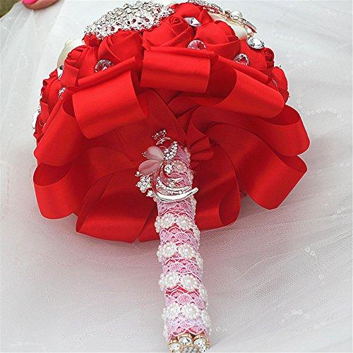 FYSTORE Bride Bouquet Milk White Crystal Wedding Rhinestone Brooch Bouquets Brides Hand Holding 18CM (Red)