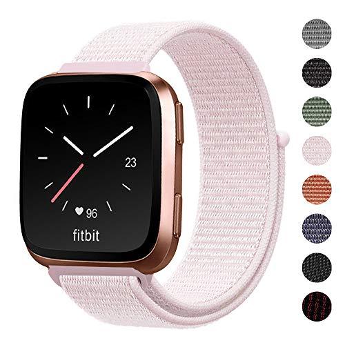 Shangpule Bands Compatible for Fitbit Versa/Versa Lite/Versa SE/Versa 2, Woven Nylon Sport Watch Replacement Band Bracelet Strap Breathable Loop Fastener Adjustable Wristbands Women Men(Pink)