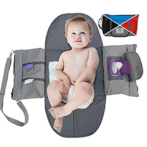 Peke-Buo Diaper Bag Clutch, Small for Mom Dad Girls or Boys, Unfolds Into Changing Station Purse Organizer, Bags Dispenses Wipes, Tissues, Disposable Baggies (Mummy At Midnight)