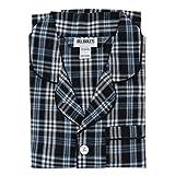 Bill Baileys Men's Long Woven Pajamas Set Button Front Down Long Sleeve Pajama (Large, Navy)
