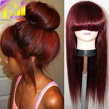 Amazon.com: Rojo 99J frontal encaje peluca de cabello humano ...