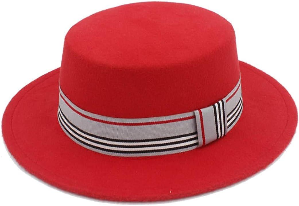 Unisex Wool Flat Fedora Hat...