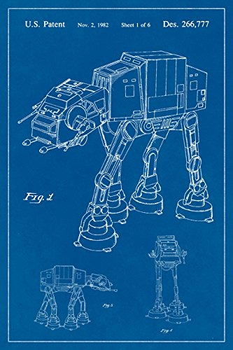 Amazon star wars at at imperial walker blueprint art poster star wars at at imperial walker blueprint art poster malvernweather Gallery