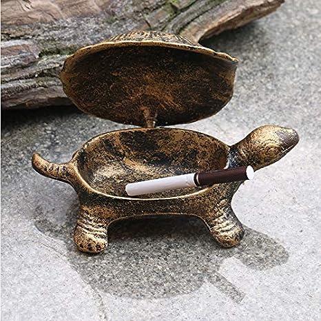 TZYHGJJ Tortuga divertida que modela cenicero de hierro puro vieja tortuga decoración del hogar cenicero tamaño : 12cm * 9cm * 6cm,Gold
